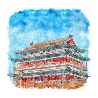 Beijing temple chine aquarelle croquis illustration dessinée à la main