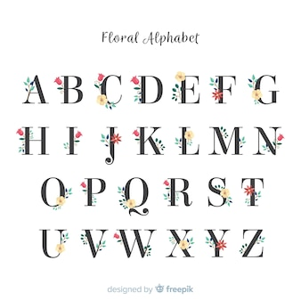 Bel alphabet avec des fleurs