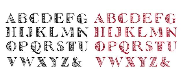 Bel alphabet folklorique abstrait dans les versions noir et rouge