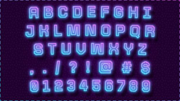 Bel alphabet avec lumière violet bleu néon