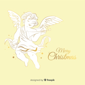 Bel ange de noël doré