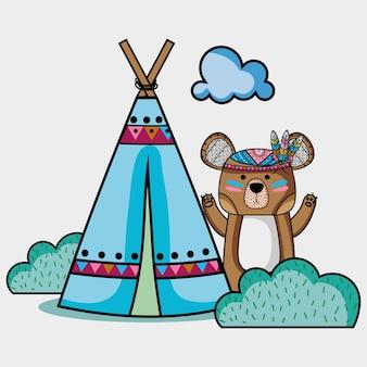 Bel animal tribal d'ours avec le camp