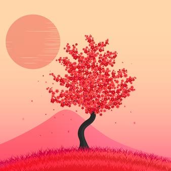 Bel arbre de fleurs de cerisier.