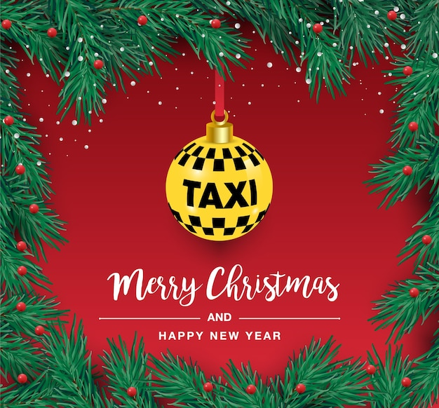 Un bel arbre de noël dans le. illustration pour une affiche de taxi. nouvel an et noël. taxi, voiture.