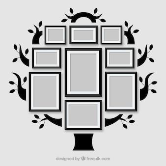 Bel arbre plat avec cadres photo