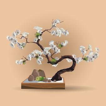 Bel arbre réaliste isolé sur beige