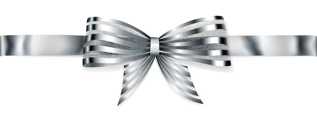 Bel arc brillant argenté rayé avec ruban horizontal avec ombre