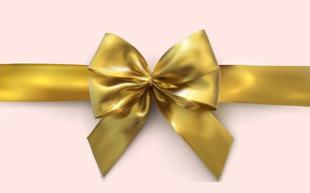 Bel arc doré et ruban d'or horizontal isolé sur blanc. arc jaune décoratif.