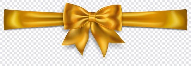 Bel arc jaune avec ruban horizontal avec ombre sur fond transparent. transparence uniquement en format vectoriel