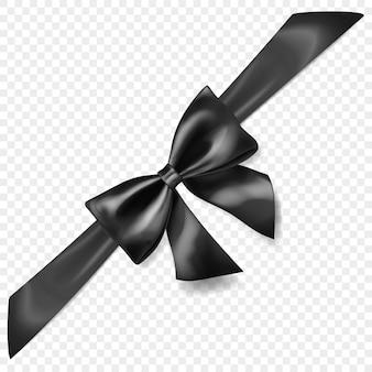 Bel arc noir avec ruban en diagonale avec ombre, isolé sur fond transparent. transparence uniquement en format vectoriel