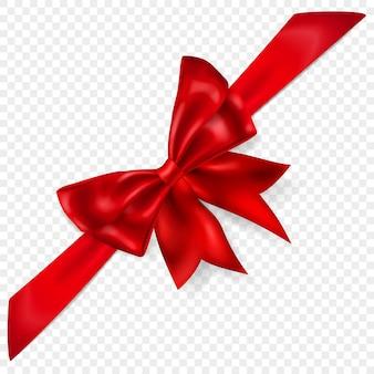 Bel arc rouge avec ruban en diagonale avec ombre, isolé sur fond transparent. transparence uniquement en format vectoriel