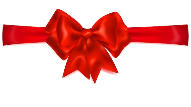 Bel arc rouge avec ruban horizontal avec ombre