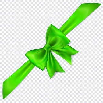 Bel arc vert avec ruban en diagonale avec ombre sur fond transparent