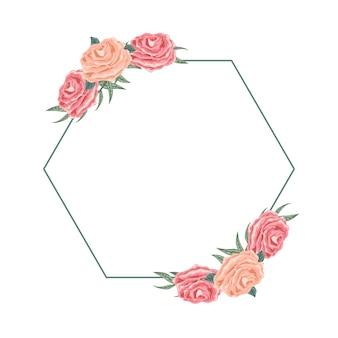 Bel arrangement floral hexagonal pour la dédicace