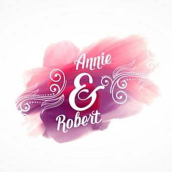 Bel effet peinture de course rose avec des détails d'invitation de mariage