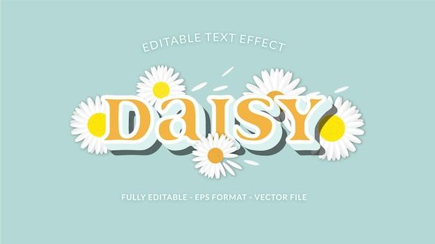 Bel effet de texte marguerite avec arrangement de fleurs comme ornement