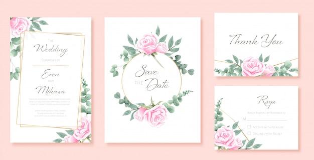 Bel ensemble aquarelle de modèles de cartes de mariage