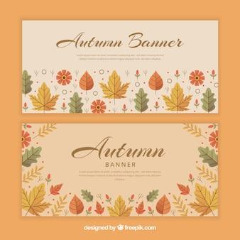 Bel ensemble de bannières automne avec un design plat