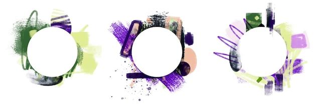 Bel ensemble de cadre de peinture à l'huile abstraite