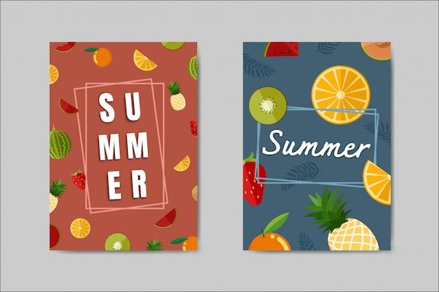 Bel ensemble de cartes d'été