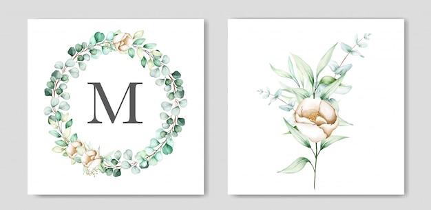 Bel ensemble de cartes d'invitation de mariage eucalyptus