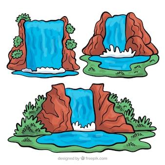 Bel ensemble de cascades dessinées à la main