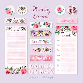 Bel ensemble d'éléments de planification