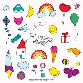 Bel ensemble de dessins d'enfants, couleur