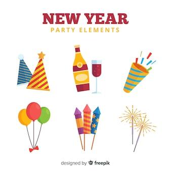 Bel ensemble d'éléments de fête du nouvel an