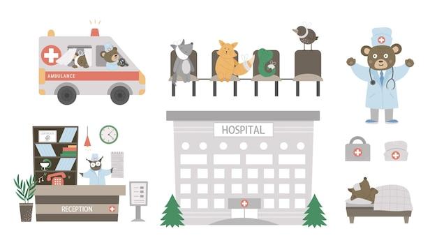 Bel ensemble médical avec illustration d'animaux