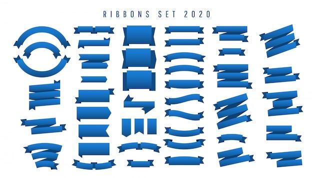 Bel ensemble minimaliste de rubans en bleu classique