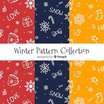 Bel ensemble de motifs d'hiver colorés