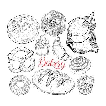 Bel ensemble de produits de boulangerie. illustration dessinée à la main