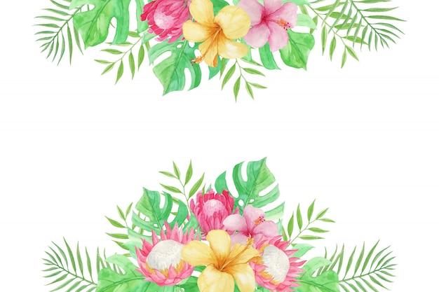 Bel été avec fleurs tropicales, feuilles de palmier et monstera sur blanc