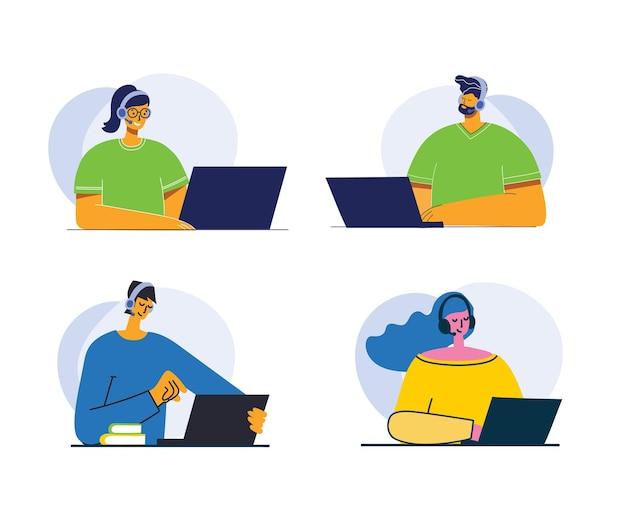 Bel homme d'affaires et femme d'affaires et homme avec l'inscription contactez-nous. personnage de dessin animé.