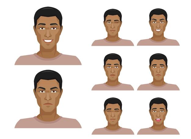 Bel homme africain avec différentes expressions faciales définies.