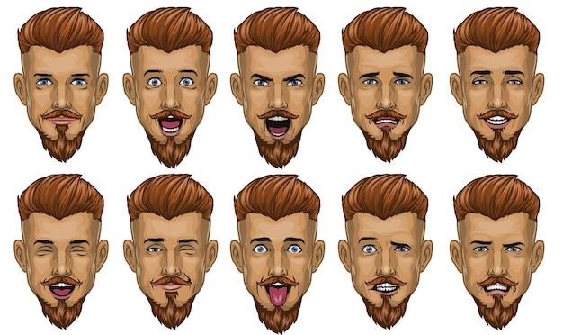 Bel homme barbu dans diverses expressions de visage