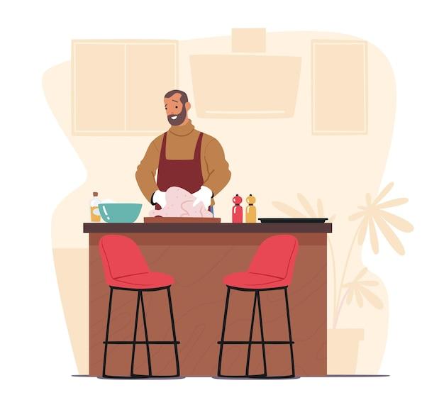 Bel homme cuisine sur cuisine à la maison. joyeux personnage masculin de dinde ou de poulet, préparant un repas délicieux et sain pour un rendez-vous ou un dîner pendant le week-end. illustration vectorielle de dessin animé
