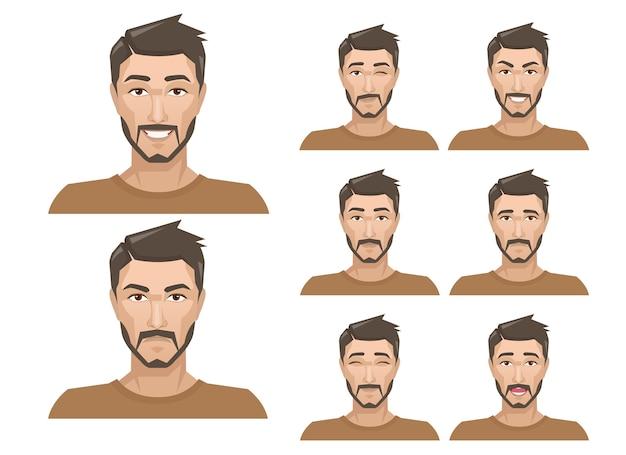 Bel homme avec différentes expressions faciales définies.