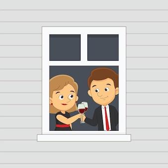 Bel homme et femme buvant près de la fenêtre. joyeuses saint-valentin