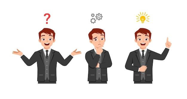 Bel homme pensant et recherche de processus d'idée