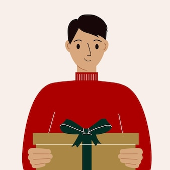 Bel homme tenant une boîte-cadeau avec un arc. télévision illustration vectorielle