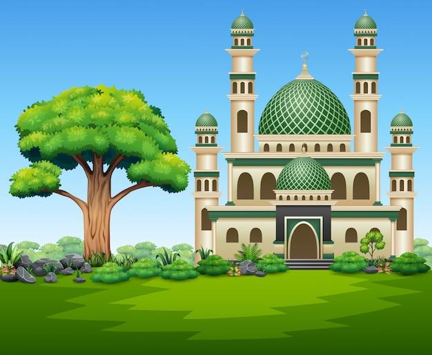 Un bel immeuble mosquée sur la nature