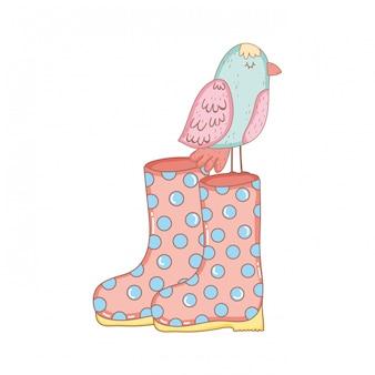 Bel oiseau avec des bottes de jardinage