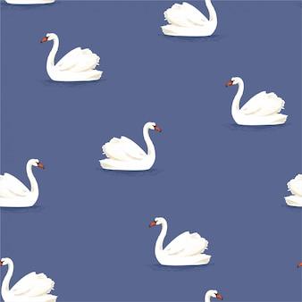 Bel oiseau cygne blanc dessiné à la main classique dans le modèle sans couture du lac bleu