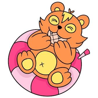 Les belettes mignonnes sont occupées à manger de délicieux biscuits, dessinent des griffonnages kawaii. illustration