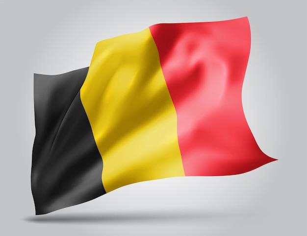 Belgique, drapeau vectoriel avec des vagues et des virages ondulant dans le vent sur fond blanc.