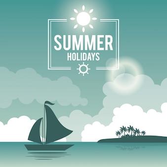 Belle affiche bord de mer avec logo vacances d'été et yacht
