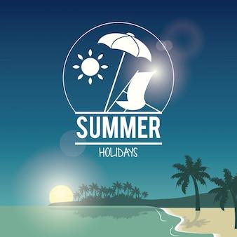 Belle affiche bord de mer avec logo vacances d'été