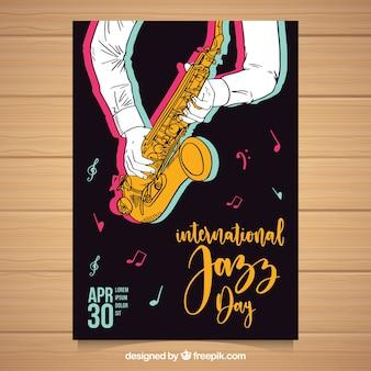 Belle affiche dessiné à la main pour la journée internationale de jazz
